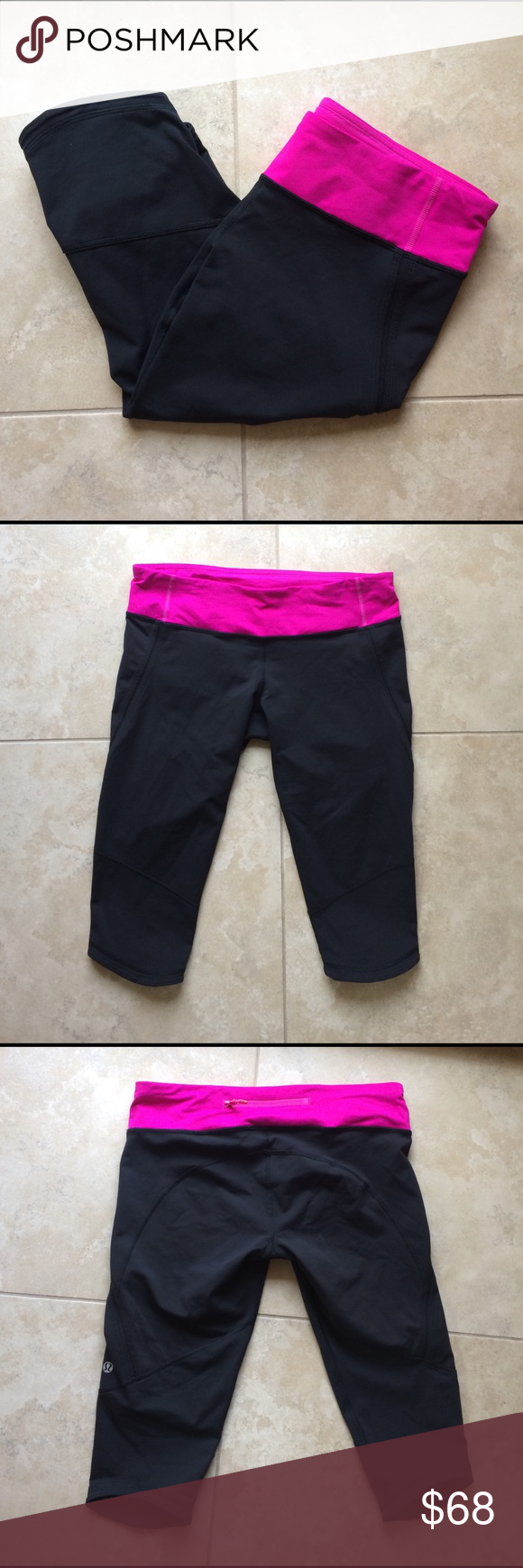 """Lululemon pink black crops Not sure of the specific style name of these and I don't model. Authentic. Luxtreme. Pink and a VERY dark gray that it basically looks black. Pristine condition. Price pretty firm but I consider fair offers. Inseam 14"""" front rise 7"""" lululemon athletica Pants Leggings"""