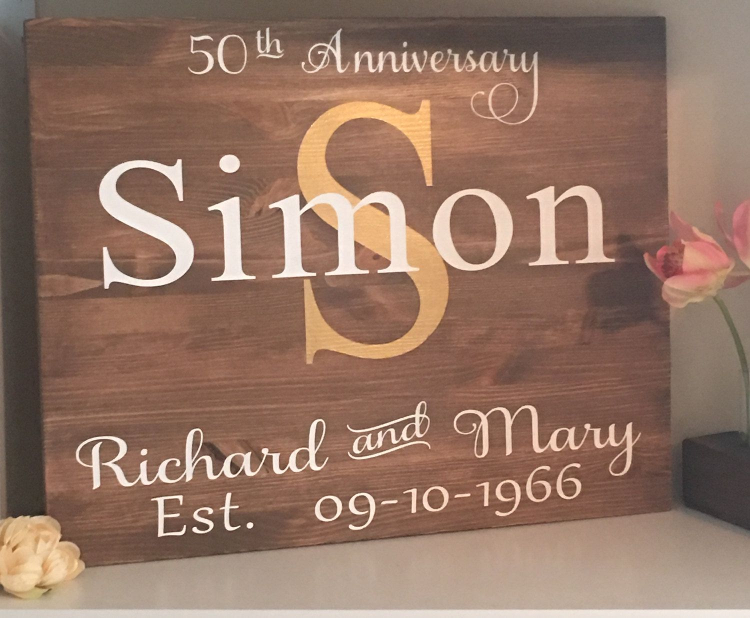 Family name sign wood rustic shaby chic established date sign