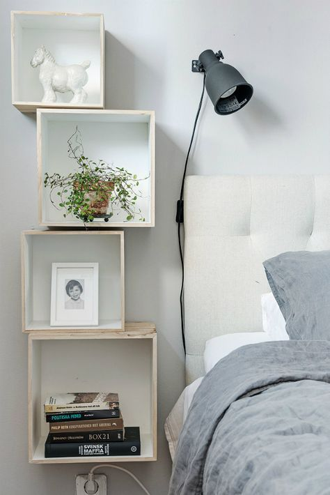 Box shelves as bedside tables for small spaces | Stylish
