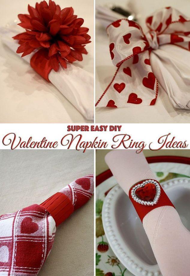super easy valentine napkin ring ideas, crafts, seasonal holiday decor, valentines day ideas
