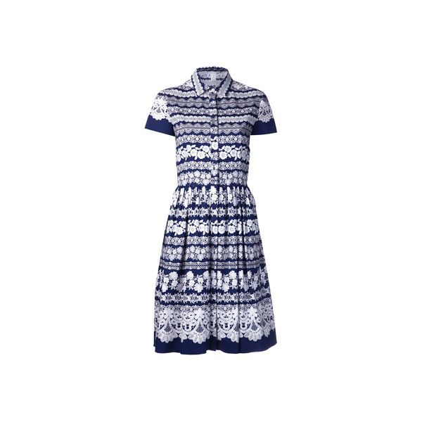 Oscar de la Renta Short Sleeved Lace Print Shirtdress ❤ liked on Polyvore featuring dresses, short sleeve shirt dress, short-sleeve dresses, short sleeve dress, oscar de la renta and shirt dress