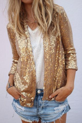 ea521ed68 ☆ edison sequin jacket and denim short / glitter | Sequins | Sequin ...