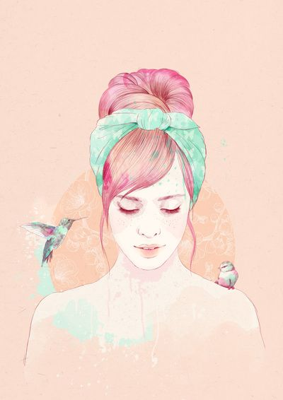 Pink hair lady Art Print
