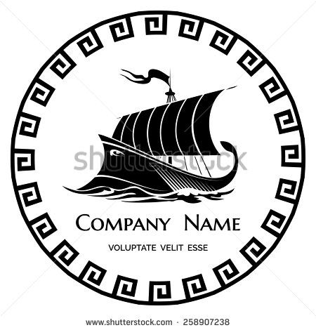 Ancient Greek Galley logo icon for company or firm. Vector