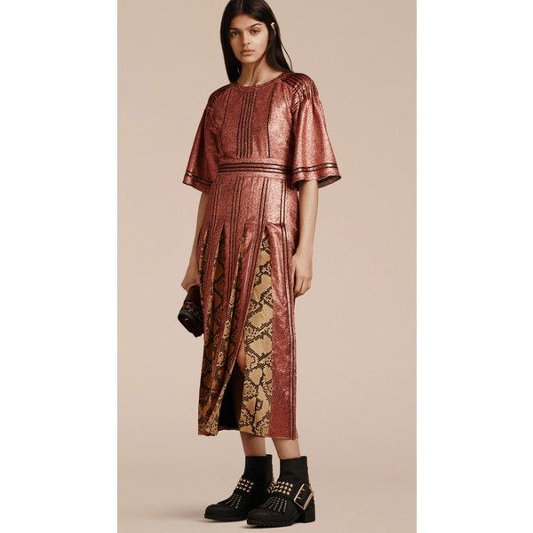 Burberry Long Lamé and Python Print Dress ($3,295) ❤ liked on Polyvore featuring dresses, long dresses, long loose dress, cocktail dresses, loose dresses and evening dresses