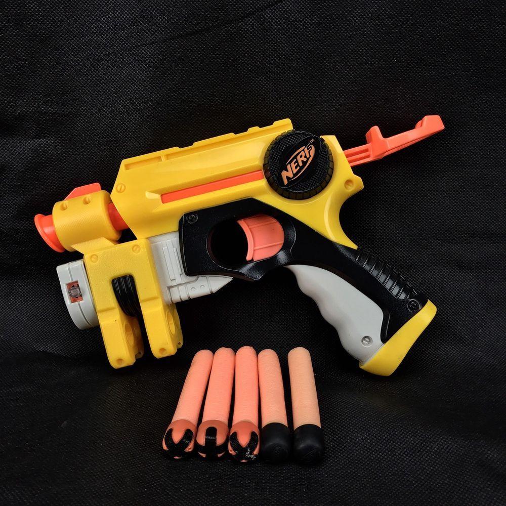 Nerf n strike night finder Gun With Red Target laser Light & 5 Bullets kids  fun