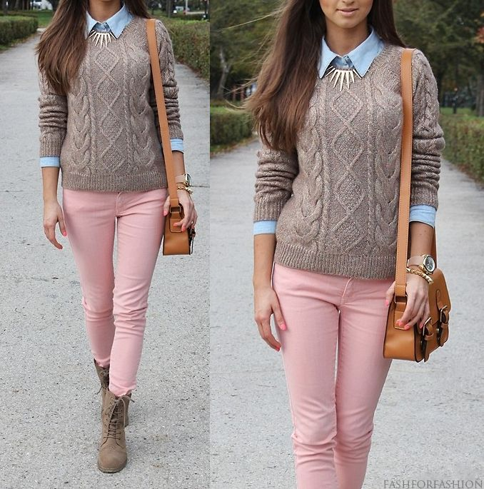 Fashforfashion Style Inspirations Casual Pink Jeans Outfit Fashion Pink Pants Outfit