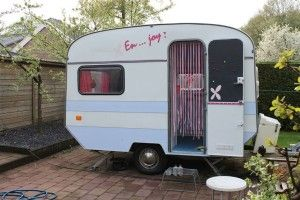#caravan in pink blue and whites
