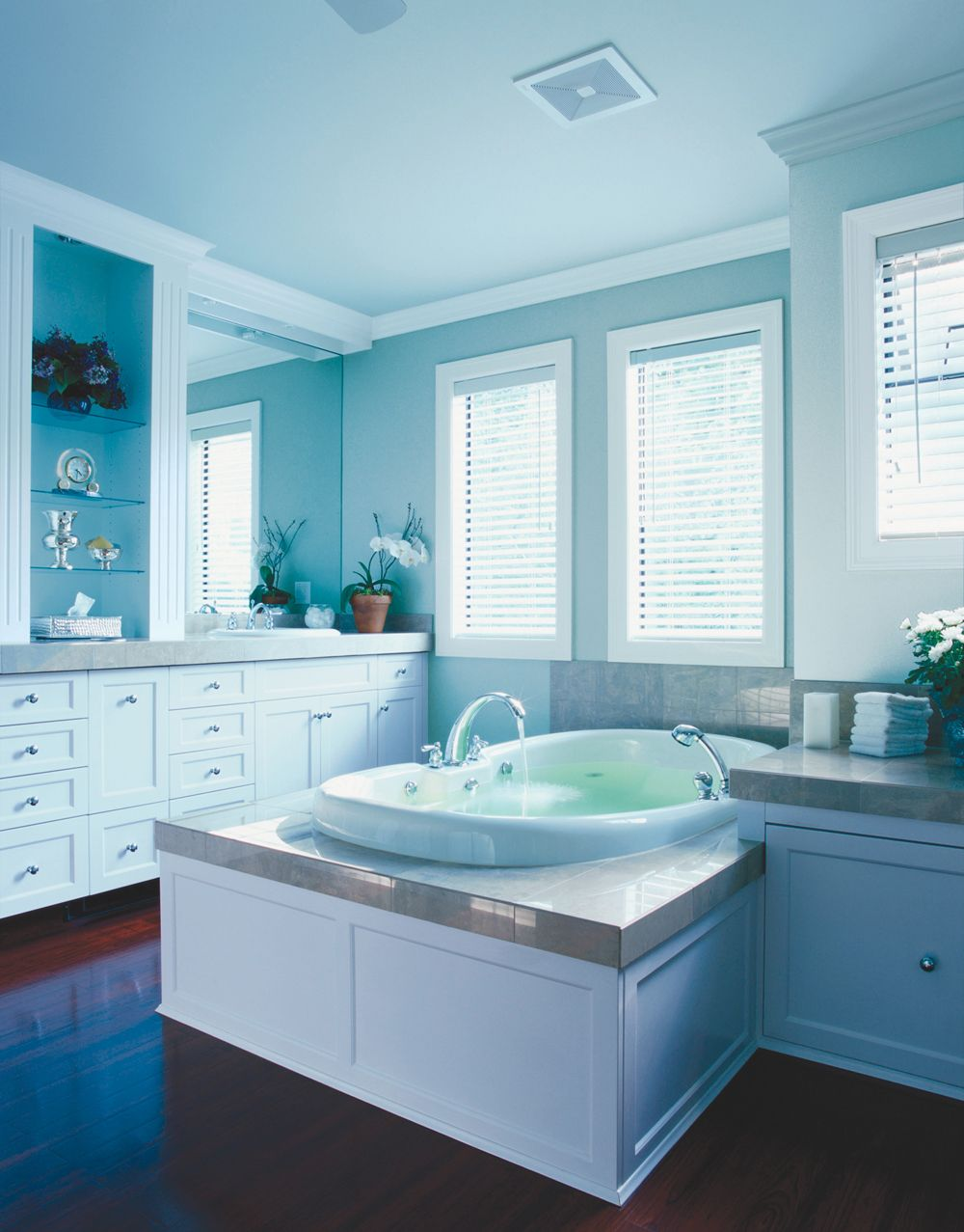 Blues+Greens Bathroom from Clark+Kensington. Cabinets: Harbor Lane ...