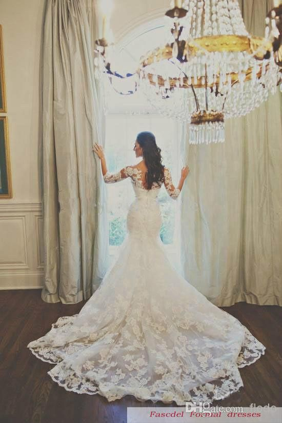 Vintage Lace Mermaid Wedding Dresses with Three Quarter Long Sleeves ...