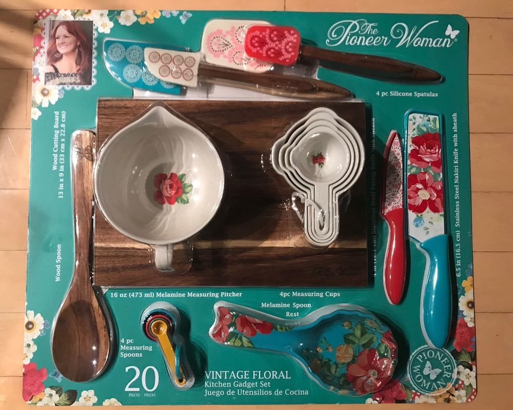 the pioneer woman vintage floral 20 pc gadget set spoon rest rh pinterest com