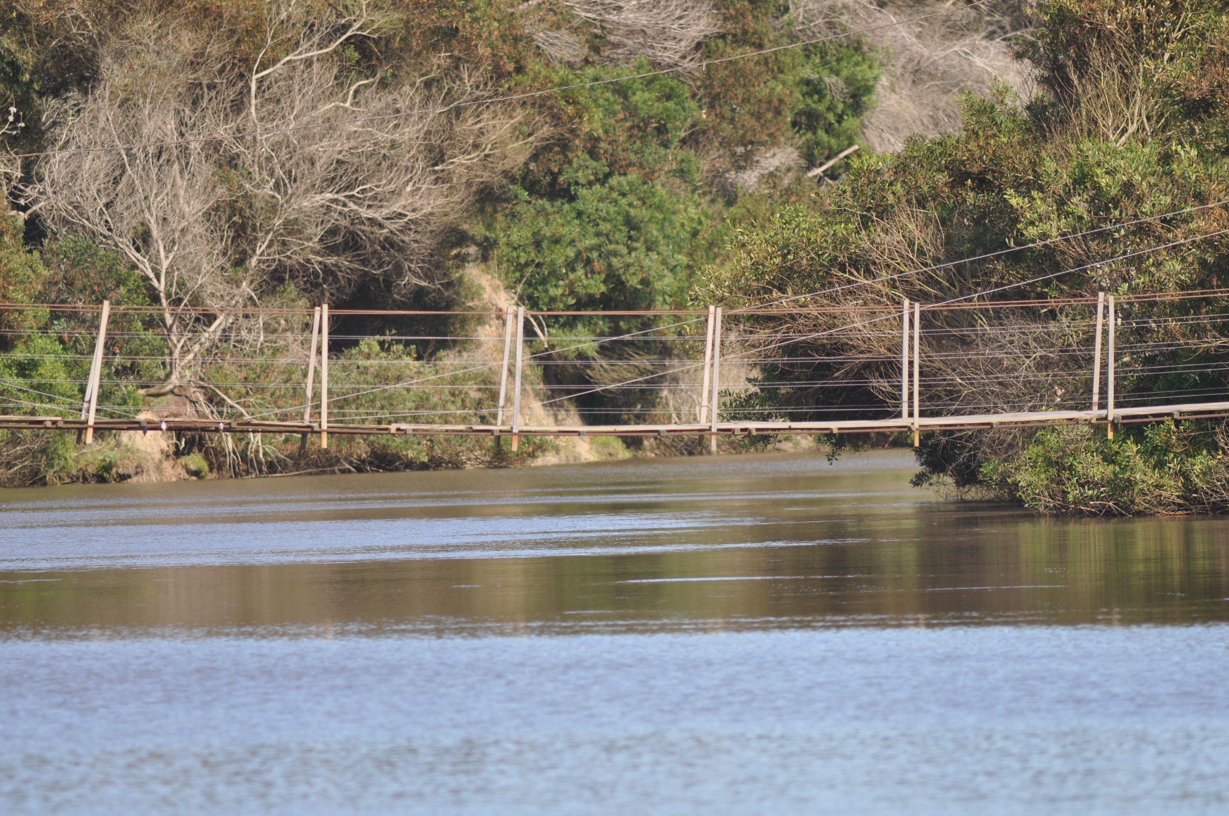 el puente colgante que une el oceanico con La Coronilla