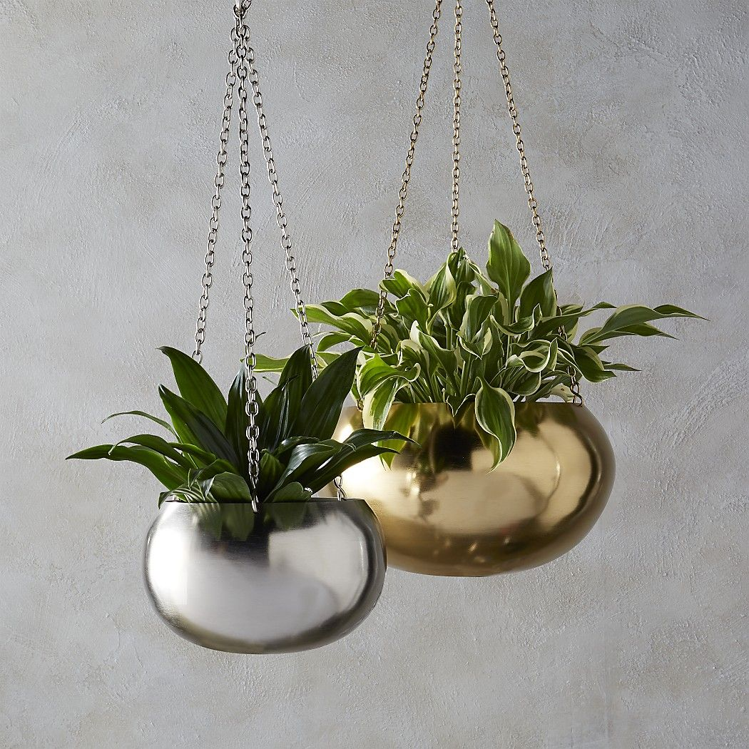 Shop 2 Piece Raj Hanging Planter Set Shiny Orb Suspends Plants From A Trip Of Linked Chains Hang Hi L Metal Hanging Planters Hanging Planters Hanging Plants