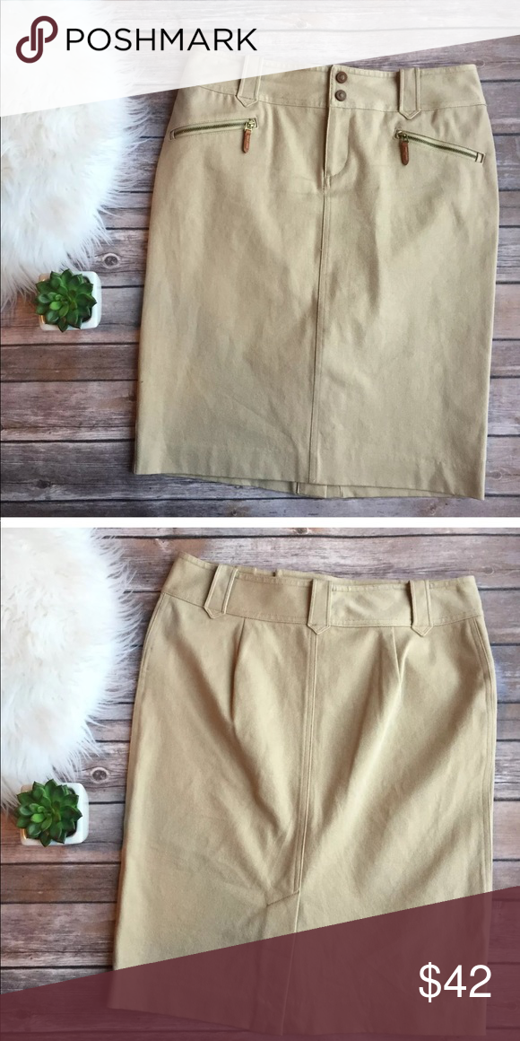 89b7f6e35 Lauren Ralph Lauren Tan Pencil Skirt 6 Excellent used condition. Like new!  Stretchy. Hits knee length for regular size 6 and below the knee for  petites.