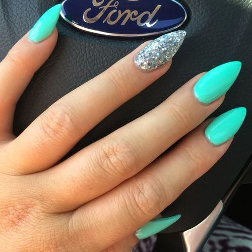 Account Suspended Teal Acrylic Nails Neon Nails Summer Nails Almond