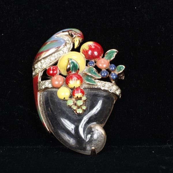 <b>Coro Craft/Corocraft Sterling Vermeil Enameled Jelly Belly Parrot on Fruit Cornucopia Pin; colorful with pave rhinestones, 1940s.</b> H 2 1/2""