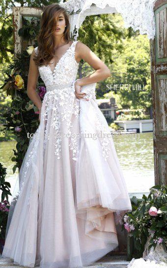 2016 Sherri Hill 11335 Ivory Nude V Neck Applique Prom Dress