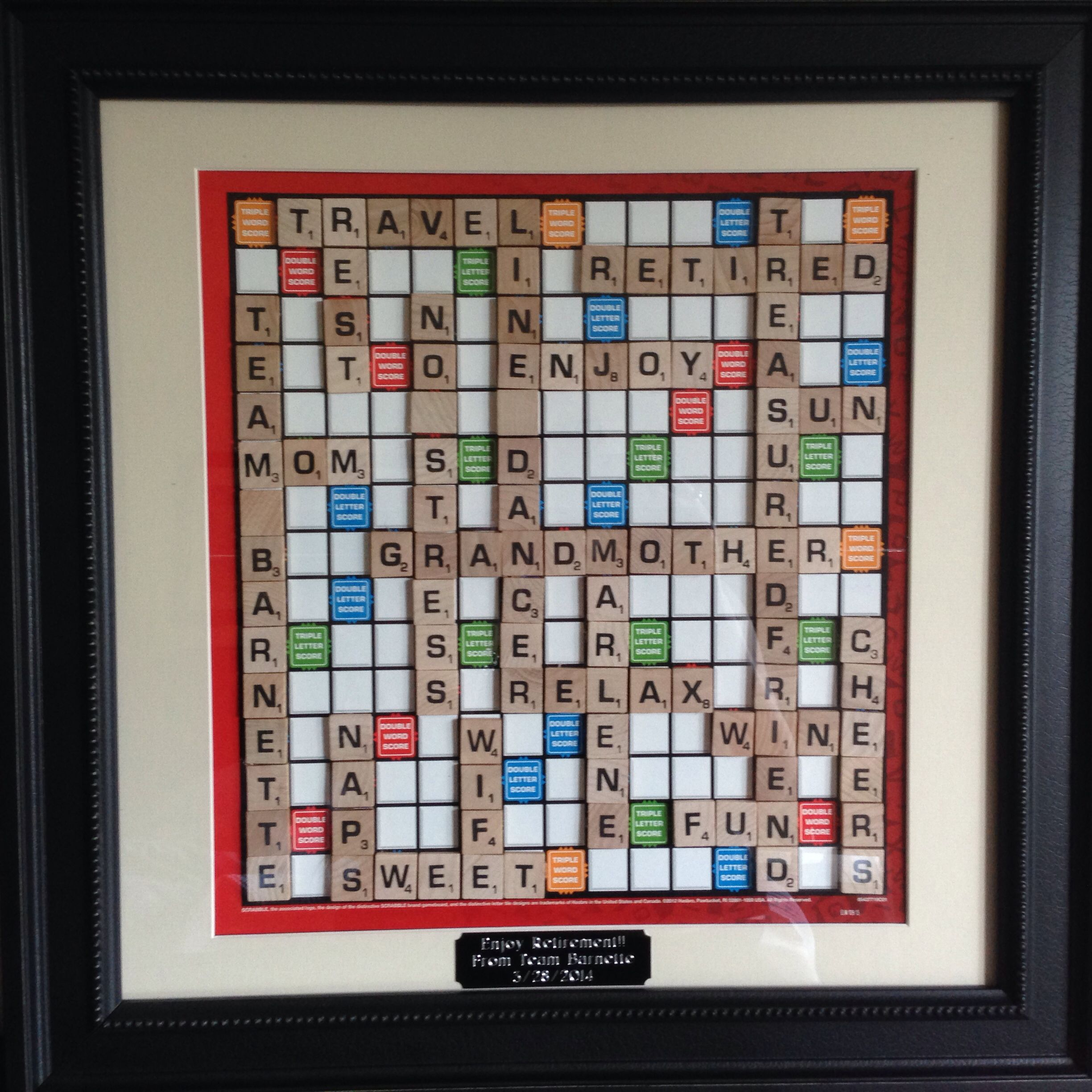 Retirement Scrabble Board Artwork I Made For A Coworker
