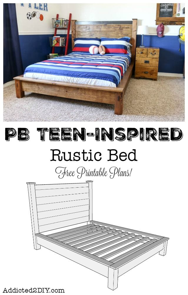 PB Teen-Inspired Double Bed + FREE Printable Plans | Ultimate DIY ...