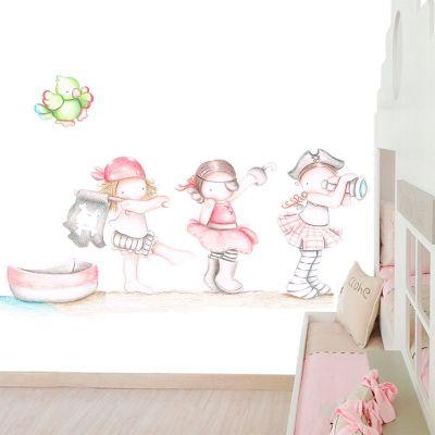 Decoraci n infantil il mondo di alex papel mural efecto pintado a mano piratas ni as - Decoracion infantil nina ...