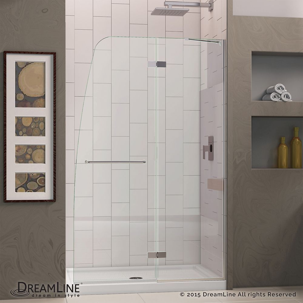 Aqua Ultra 32 Inch X 60 Inch X 74 75 Inch Semi Frameless Hinged Shower Door In Chrome With Center Drain White Acrylic Shower Doors Frameless Hinged Shower Door