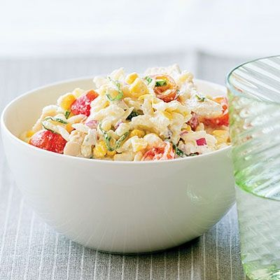 Chicken, corn  tomato with orzo pasta salad spring-summer-meal-planning