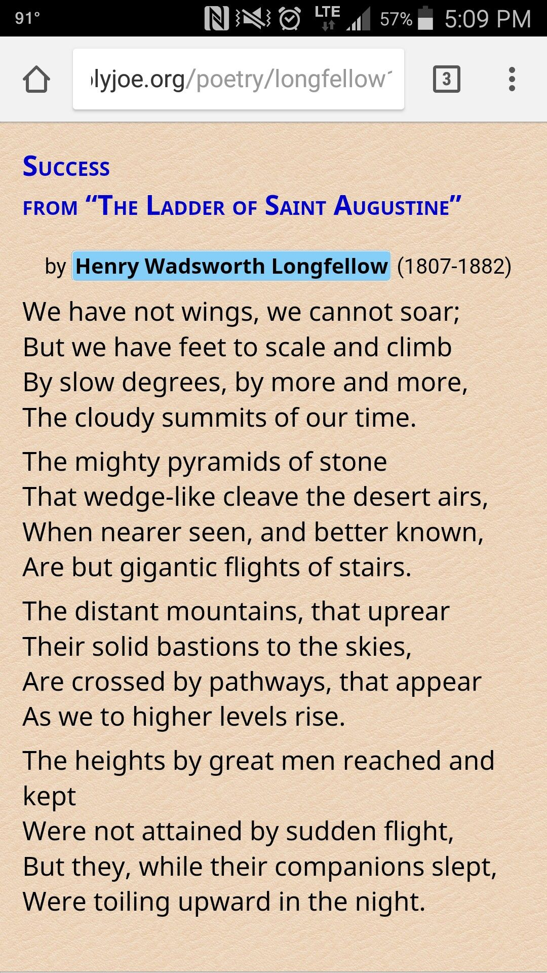 Success By Henry Wadsworth Longfellow From The Ladder Of St Augustine Longfellow Beautiful Poetry Best Quotes