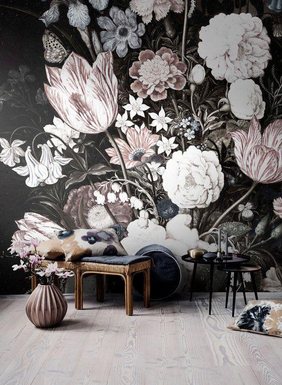 Vintage Floral Art Removable Wallpaper | Vintage flowers ...