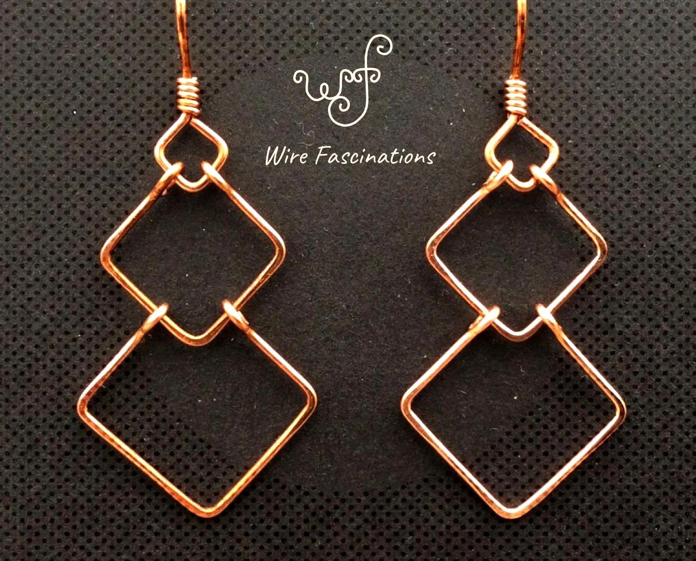 Handmade copper earrings chain link diamond shaped frames These handmade solid copper earrings are