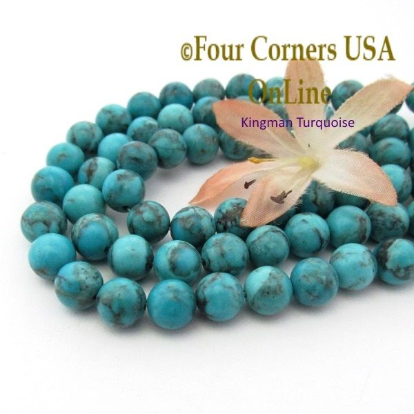 corners four old inch strands american usa blue tq turquoise supplies kingman jewelry round beads online