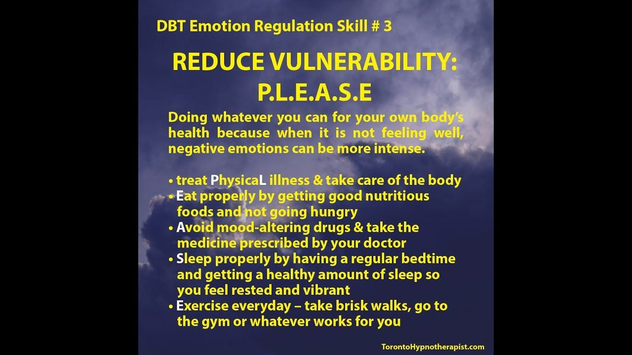Dbt Emotion Regulation Skill 3 Reduce Vulnerability P L E A S E Dbt Skills Negative Emotions Emotions