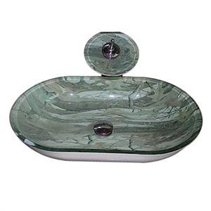 4244 En verre trempé rectangulaire vasque avec robinet cascade et vidage et bague de fixation