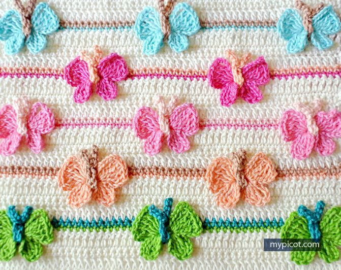 Crochet Butterfly Stitch Tutorial - (mypicot) | Mantas | Pinterest ...