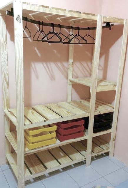 Inspiracões de Closet feito de pallet e caixote de feira- DIY