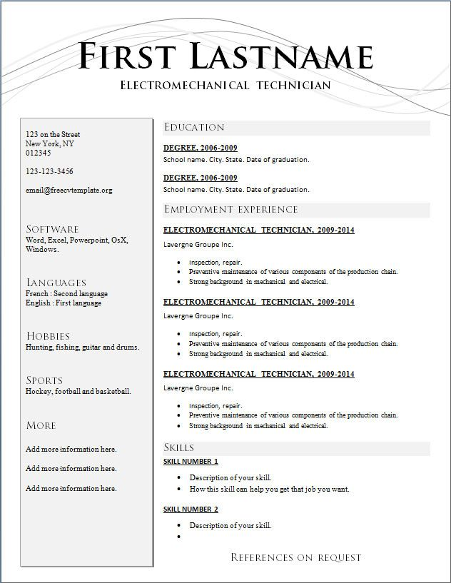 free_cv_template_211jpg (632×817) School Pinterest Job resume - resume builder templates