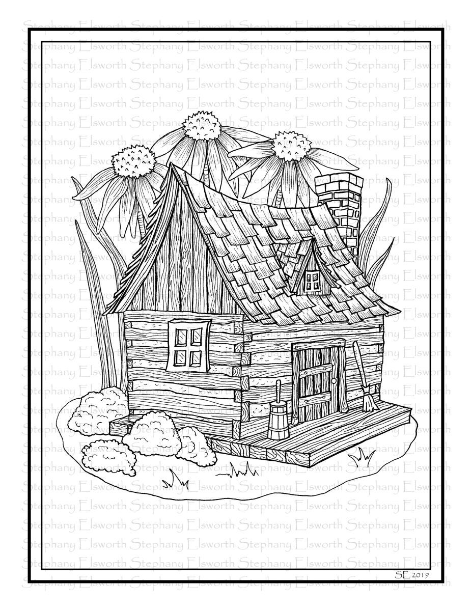 Fairy Cabin Printable Instant Download Coloring Page Coloring