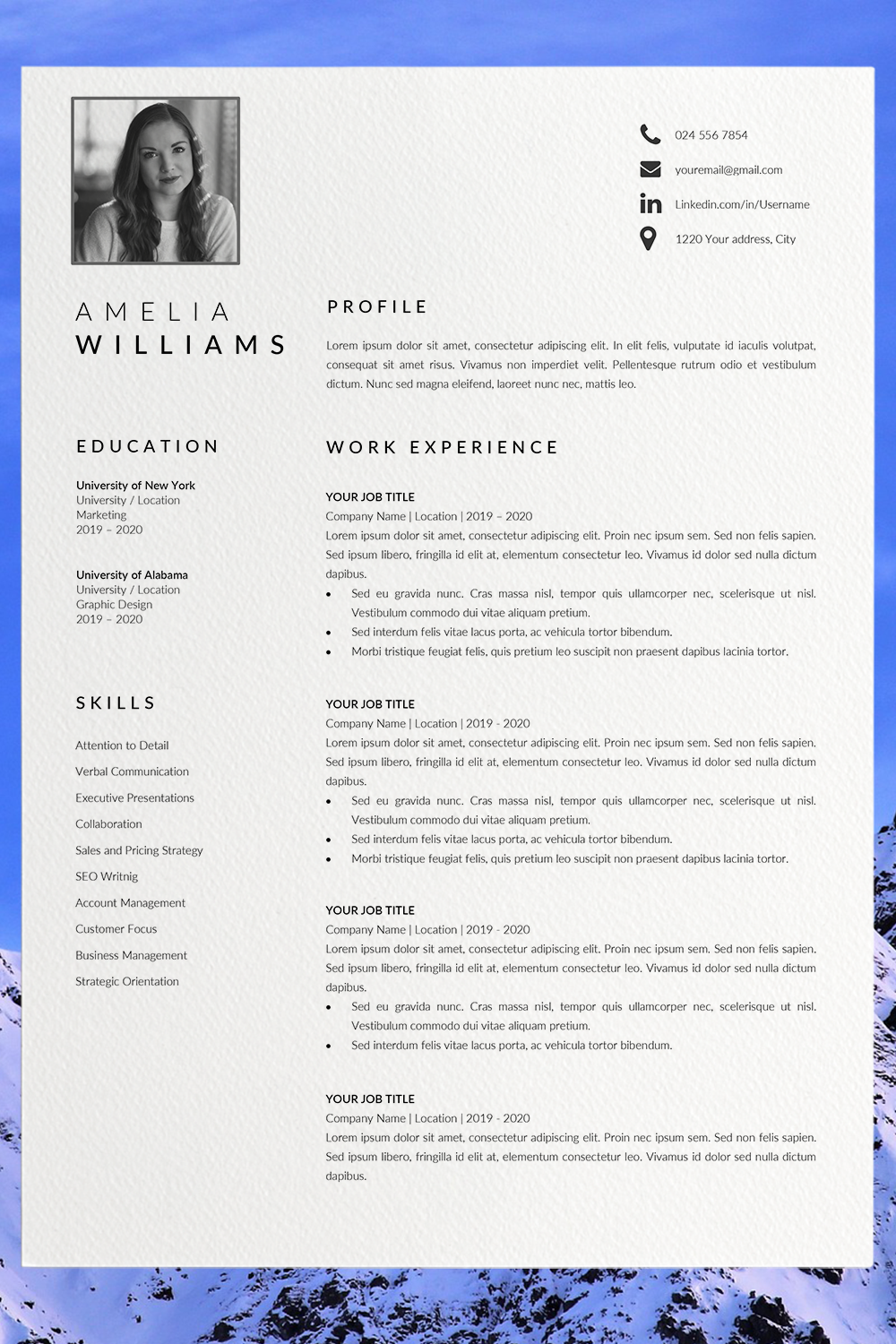 Modern Resume Template Word Cv Format Template Word Unique Etsy Best Cv