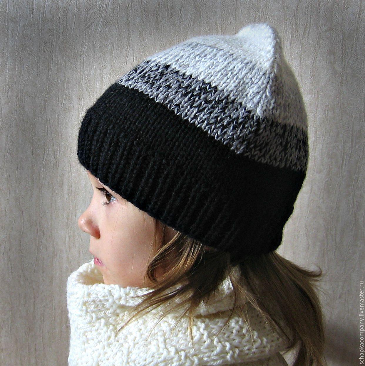 Купить Детская шапка - чёрно-белый, шапка вязаная, шапка ...