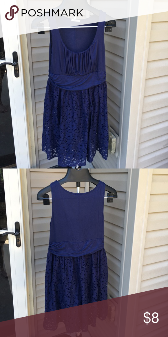 Modcloth Navy Eyelet Dress Navy. Some shortening of under slip. Edge strings need to be trimmed. modcl Dresses