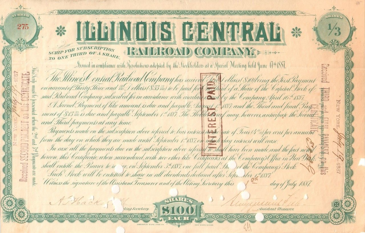 Illinois Central Railroad subscription of shares 1887