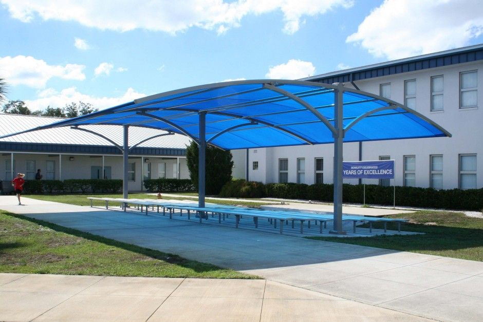 Extravagant Curved Blue Canopy Roofing As Pool Shade To