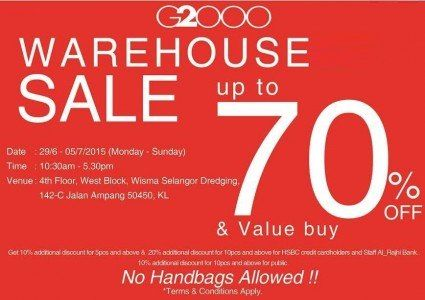 a003c6d18 29 Jun-5 Jul 2015  G2000 Warehouse Sale for Mens   Ladies Fashion Clothing  Clearance