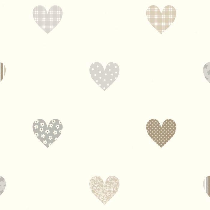 Lilleby vliestapete herzen grau beige paper tapeten for Farben und tapeten