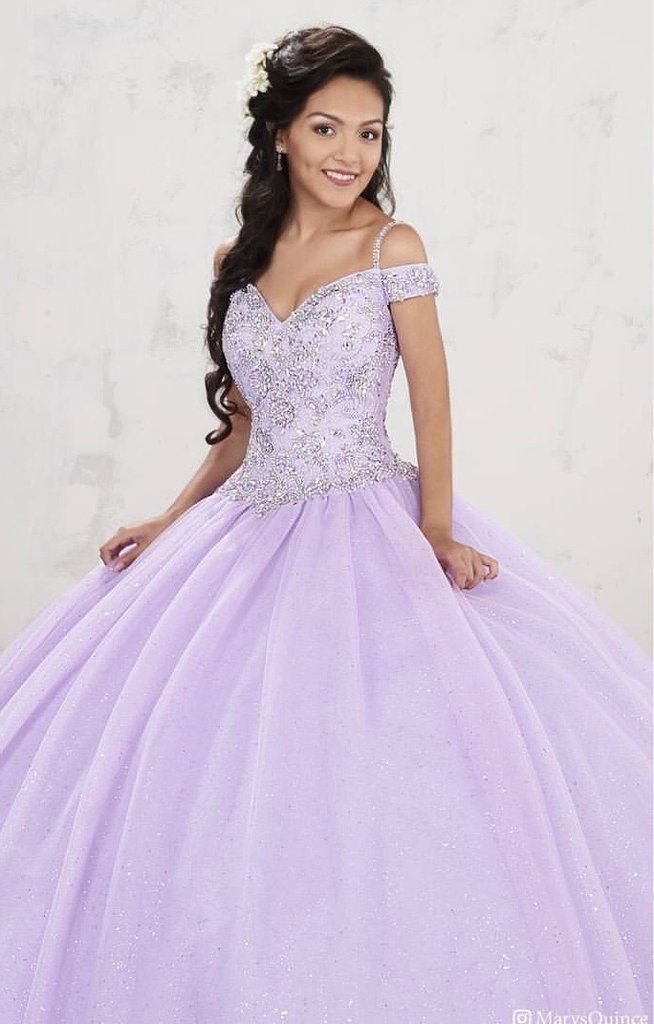 Beaded Cold Shoulder Quinceanera Dress by Mary\u0027s Bridal