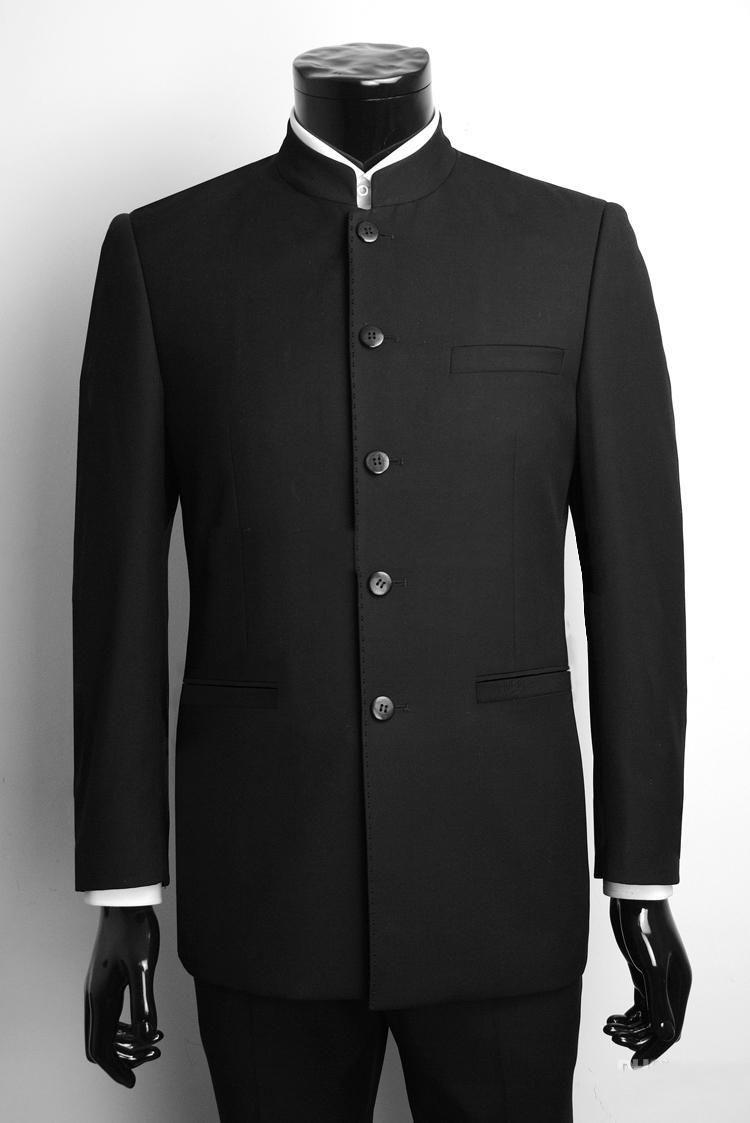 Custommade singlebreasted groom tuxedos black chinese lapel