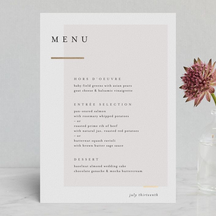 Clean and Modern - Customizable Foil-pressed Menus in Beige, Gold or Gray by Kelly Schmidt.