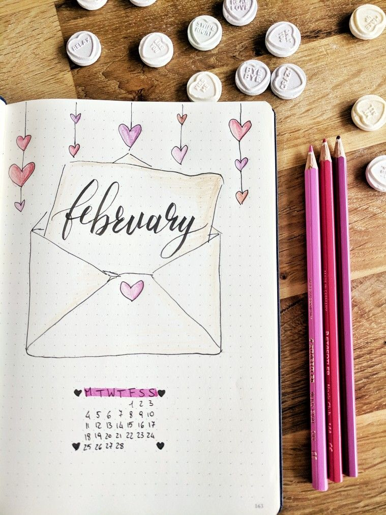 February Bullet Journal monthly page  Valentine's and heart, love letter #augustbulletjournal