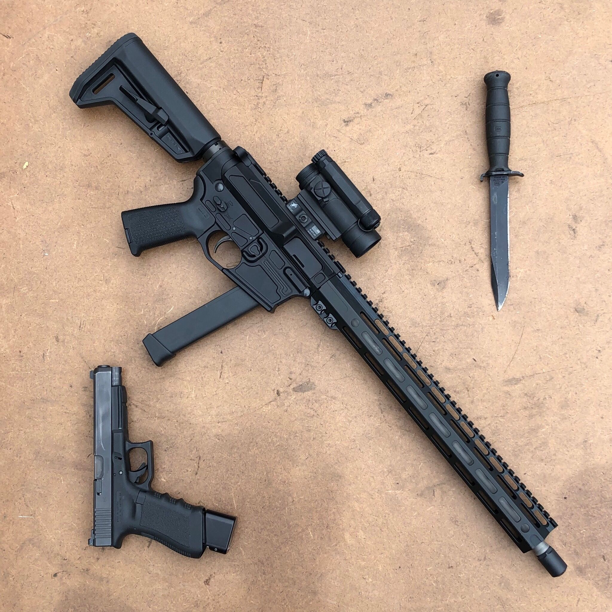 """Lone Star Armory TX9 16"""" Pistol Caliber Carbine 9mm with Glock 34"""