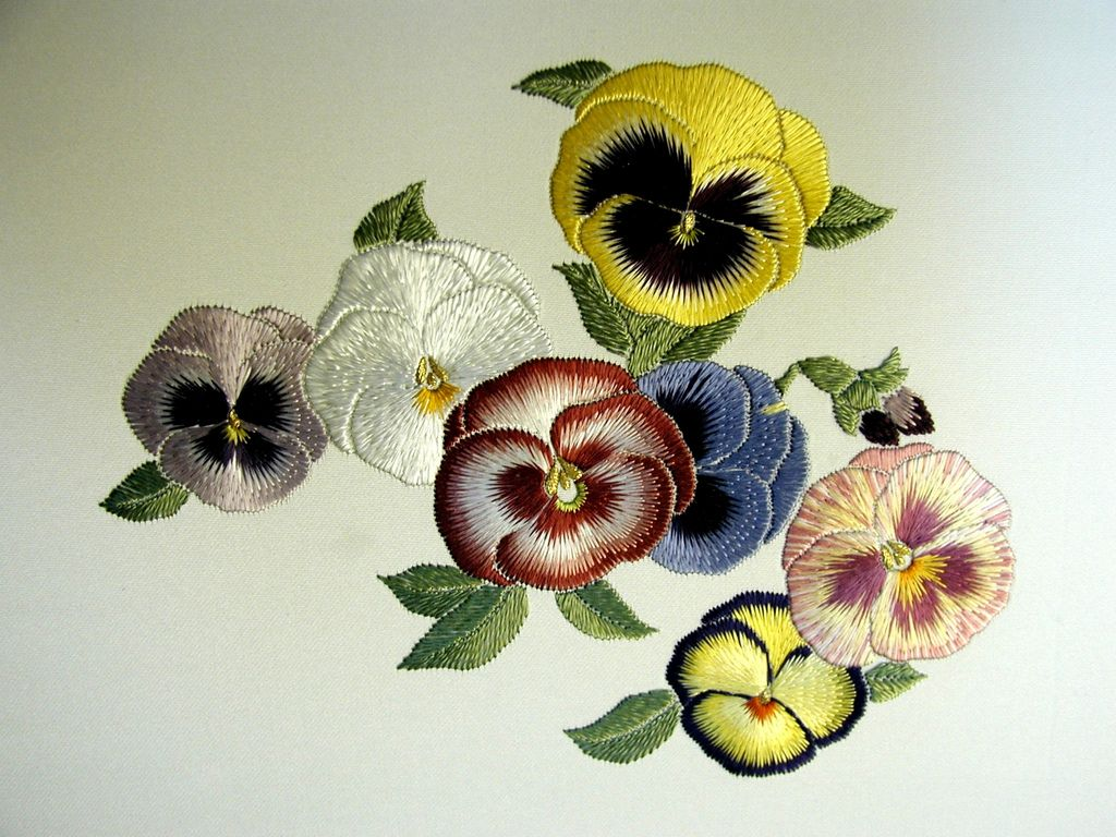 Pansies japanese embroidery pansies and embroidery
