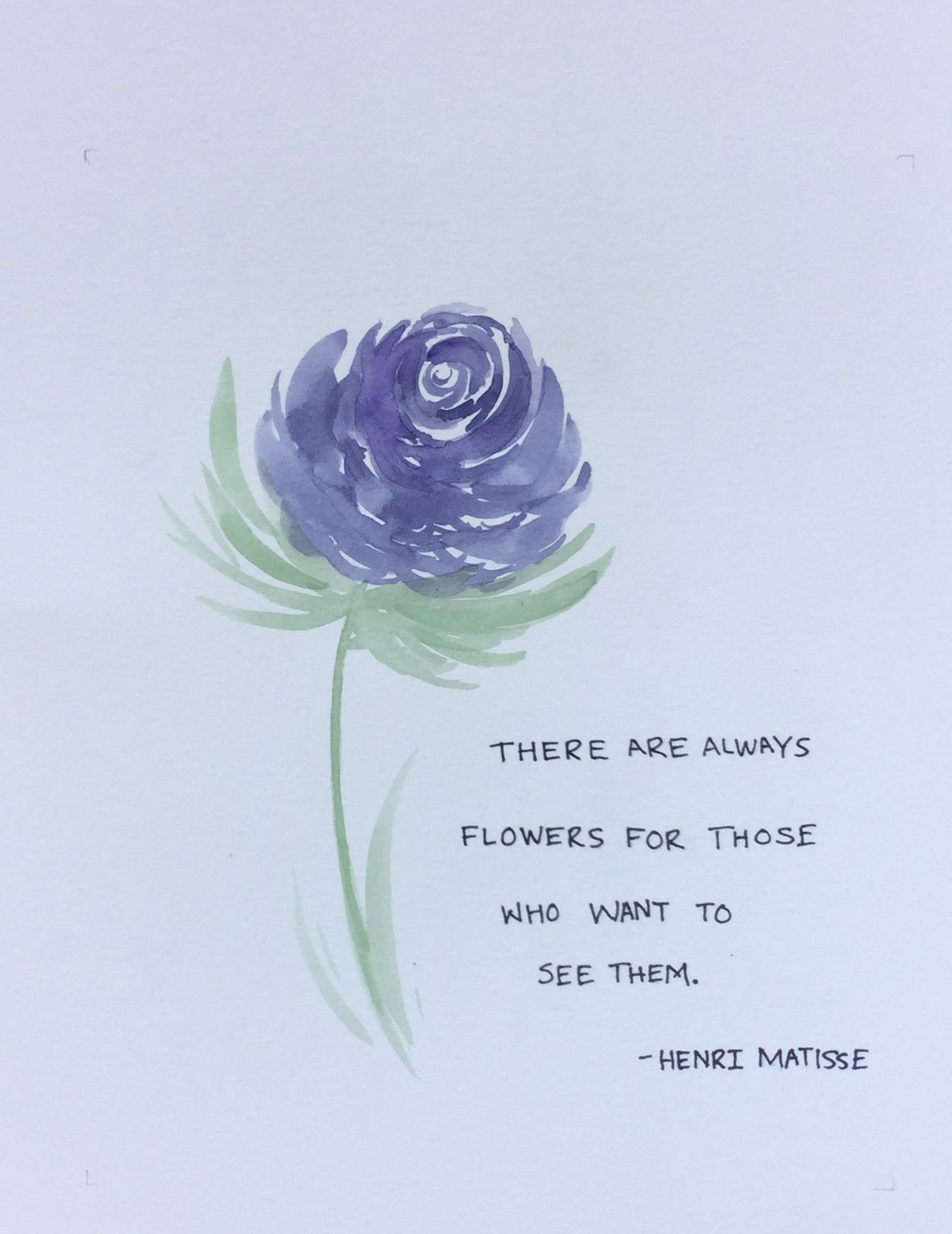 An Original Painting Of Blue Flower Accompanied By A Quote By Henri